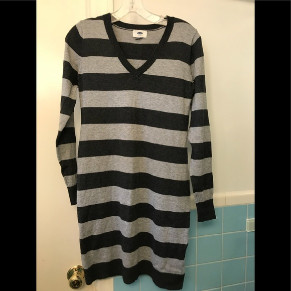 Poshmark Old Navy DressesGray Striped Dress Sweater 3cJK1FTl